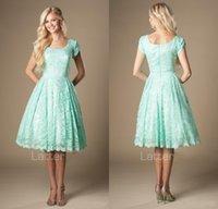 Vintage Lace Knee Length Mint Short Modest Bridesmaid Dresse...