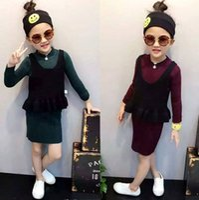2016 Autumn Winter Girls Set Knitted Tops Base Shirt + Slip ...