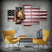 5 шт / набор обрамленных HD печатных бокса флаг флага фотография абстрактной масляной живописи на холсте в рамке азиатской стены искусство плакаты для малыша Главная