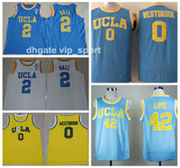 UCLA Bruins Collège Maillots Hommes Basket-ball 0 Russell Westbrook Maillot 42 Kevin Love 2 Lonzo Ball Maillot Tout Cousu Bleu Blanc Jaune