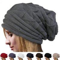 Women Solid Beanie Winter Fashion Skull Cap Crochet Knitted ...