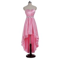 2016 Crystal Beads Pink satin Hi- lo High Low Long Formal Eve...