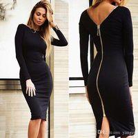 2016 Automne Winte Hot Mode Vêtements Femmes Bodycon Sexy Midi Robe Tight Retour Zipper Robes Casual Long Robes Parti Manche S-XL LN1008