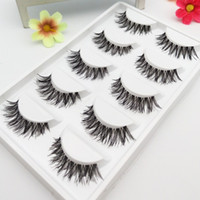 1 box 5pairs Handmade False Eyelashes Thick Messy Winged Tra...
