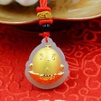 Year of Rooster chicken out of egg Boutique pendant Hetian w...
