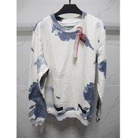 2017 o inverno do outono fora das camisolas novas da coleção dos homens brancos das mulheres O azul líquido mancha o hoodie longo da camisola da luva