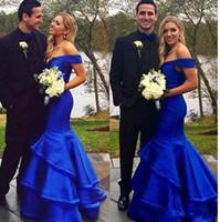 2017 Sexy Royal Blue Пром платья Русалка с плеча Длина пола Многоуровневое Формальное вечернее платье партии мантий выполненное на заказ