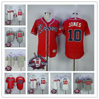 Chipper Jones Jersey #10 Atlanta Braves Baseball Jersey with...