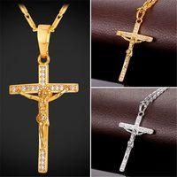 U7 Croix Crucifix Pendentif Collier Christ Jésus Femmes / Hommes Religion Zircon Cubique Or / Platine plaqué chaîne de chaînage Cadeaux parfaits