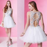 Sexy White Short Prom Dress A Line Lace Appliques Beading V ...