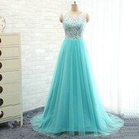 Light Sky Blue Long Prom Dresses Real Photos A- Line Jewel Sh...