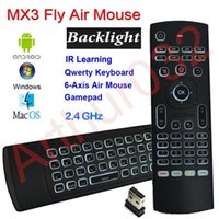 X8 Backlight MX3 Mini teclado com IR Aprendendo Qwerty 2.4G controle remoto sem fio 6Axis Fly Air Mouse Backlit Gampad para Android TV Box i8
