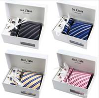 2017 neck tie set necktie Pocket square cufflinks men' s...