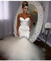 2016 Sexy Mermaid Wedding Dress Sweetheart Tulle Satin Vesti...