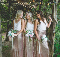 2017 Новый Boho двухкусочный Sparkly Блестки платья невесты V шеи Длина пола свадебное платье для гостей горничной честь формальной стороне платья дешевые