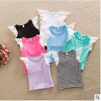 Girls Kids Vest Ins T- Shirt Cotton Lace Fly Sleeve Baby Summ...