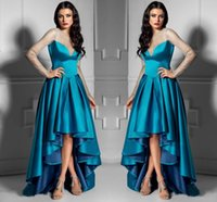 Высокий низкий 2017 Вечерние платья Jewel Sheer Шея с длинными рукавами Пром платья Назад Застежка-молния Ruffle Sweep Поезд на заказ официально платья случаю