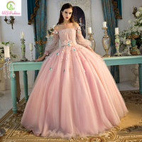 Sweet Pink Princess Sexy Prom Dresses Bateau Romantic Flower...