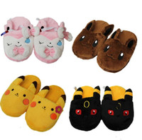 Poke Slippers Pikachu Eevee Stuffed Plush Slippers Poke Plus...