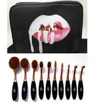 Kylie Oval Maquillage Pinceau Rose Or Fondation Cosmétiques BB Crème Poudre Blush 10 pièces Maquillage Outils + sac Livraison gratuite + CADEAU Livraison gratuite