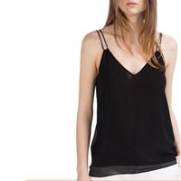 Оптово-Женщины сексуальный подтяжк жилет V-образным вырезом летом сплошной черный белый Camis стропа рубашки дамы моды случайные топы WT241