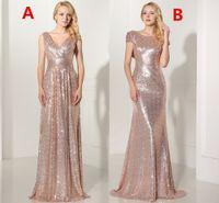 Under70 Дешевое розовое золото Украшенное длиннее платье Bridesmaid Сексуальное V-образным вырезом плиссированное backless официально платье Party Vestido De Festa Longo SD349 SD347