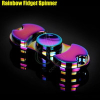 Plus récents Rainbow Fidget Spinner Toys Hand Spinners alliage Torqbar Axe de roulement EDC Finger Tip Rotation HandSpinner Gag Spinning décompresser DHL