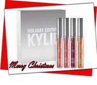 Chirsitmas Le plus récent Kylie Holiday Edition Kit 4pcs / set Mat Liquide Lipstick Gloss Lipstick Batte mat Set de collection pour le cadeau de Noël