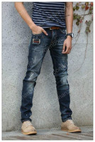 Fashion New Men Skinny Slim Biker Jeans Hole Locomotive Jean...