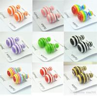 New han edição Pearl Brincos cor de doces atacado yakeli zebra listra dupla pérola brincos moda Studs 2982