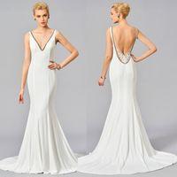 Backless White Evening Dress Mermaid Plus Size Deep V Neck C...