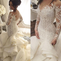 2017 Vintage Luxury Wedding Dresses Long Sleeve V- Neck Appli...