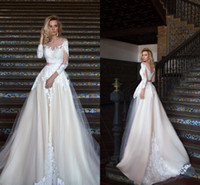 2017 New A Line Wedding Dresses Sheer Neck Scoop Neck Lace R...
