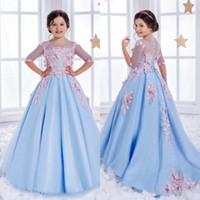 Половина шнурка втулки девушки цветка для венчаний Light Sky Blue Crystal Дети бальные платья специального случая Причастия платье