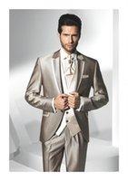 Custom Made Groom Tuxedos Notch Lapel Men' s Suit Shiny ...
