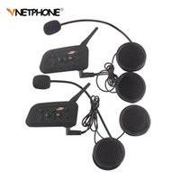 Vente en gros - 2PCS Vnetphone V6 Casque Bluetooth Casque Interphone Casque 1200M Moto sans fil Interphone BT pour 6 cavaliers Intercomunicador