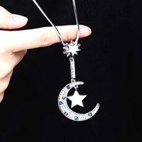 Micro Pave Crystal Moon And Star Long Necklace Women Bijoux ...