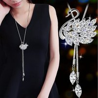 RAVIMOUR New Swan Long Necklace for Women Fashion Cubic Zirc...