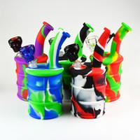 Silicone Pipe avec verre droit Perc 5 couleurs Silicone Hookah eau Bongs avec 14,4 mm Joint Skull Bowl Livraison gratuite DHL SP190