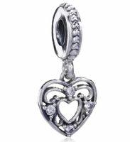 2017 printemps jour de la mère chute de coeur charme pour Pandora Bracelet DIY perle charme Bijoux en argent sterling