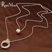 Gold Silver Plated Double Chain Balls Circles Long Necklaces...