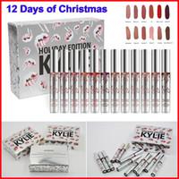 Дженнер блеск для губ Кайли 12 дней Рождества Помада Vault Праздник Помада 12pcs комплект Матовый Liquid LipGloss Губы Макияж Горячая продажа