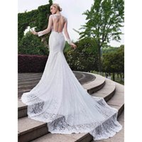 Sexy Lace Backless Long Sleeves Mermaid Wedding Dresses Cust...