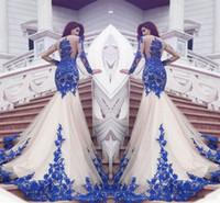 2017 Новый Дубай Mermaid платья выпускного вечера Royal Blue Lace аппликациями Sheer Sexy See Through Назад Длинные рукава Vestios De Fistea вечерние платья