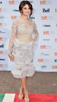Selena Gomez из бисера платье Backless Знаменитости платья 2017 года с длинным рукавом Red Carpet партии вечера платья выпускного вечера платья Формальные Vestidos Лонго