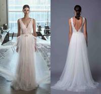 Лихи Ход Кружева 2017 Beach Свадебные платья Backless A-line Tulle Illusion Свадебные платья Vintage Sexy Свадебные платья