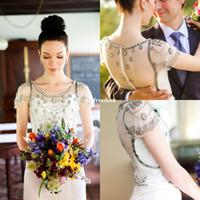 Мечтательный jenny packham Платья для свидетельницы из шифона 2017 Jewel Neck Cape Sleeve Кристалл Бисерные покрывала Кнопка County Garden Bridal Gowns