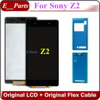 Pour Sony Xperia Z2 L50W D6502 D6503 D6543 Écran à cristaux liquides Écran tactile Numériseur assemblage avec double bande adhésive latérale noire Par DHL