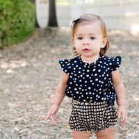 New Girls Baby Dot Ruffles Vest Tank Tops Plaid Briefs Suits...