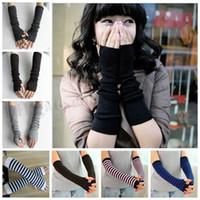 Women Knitted Long Gloves Crochet Knit Cuff Arm Sleeves Wint...